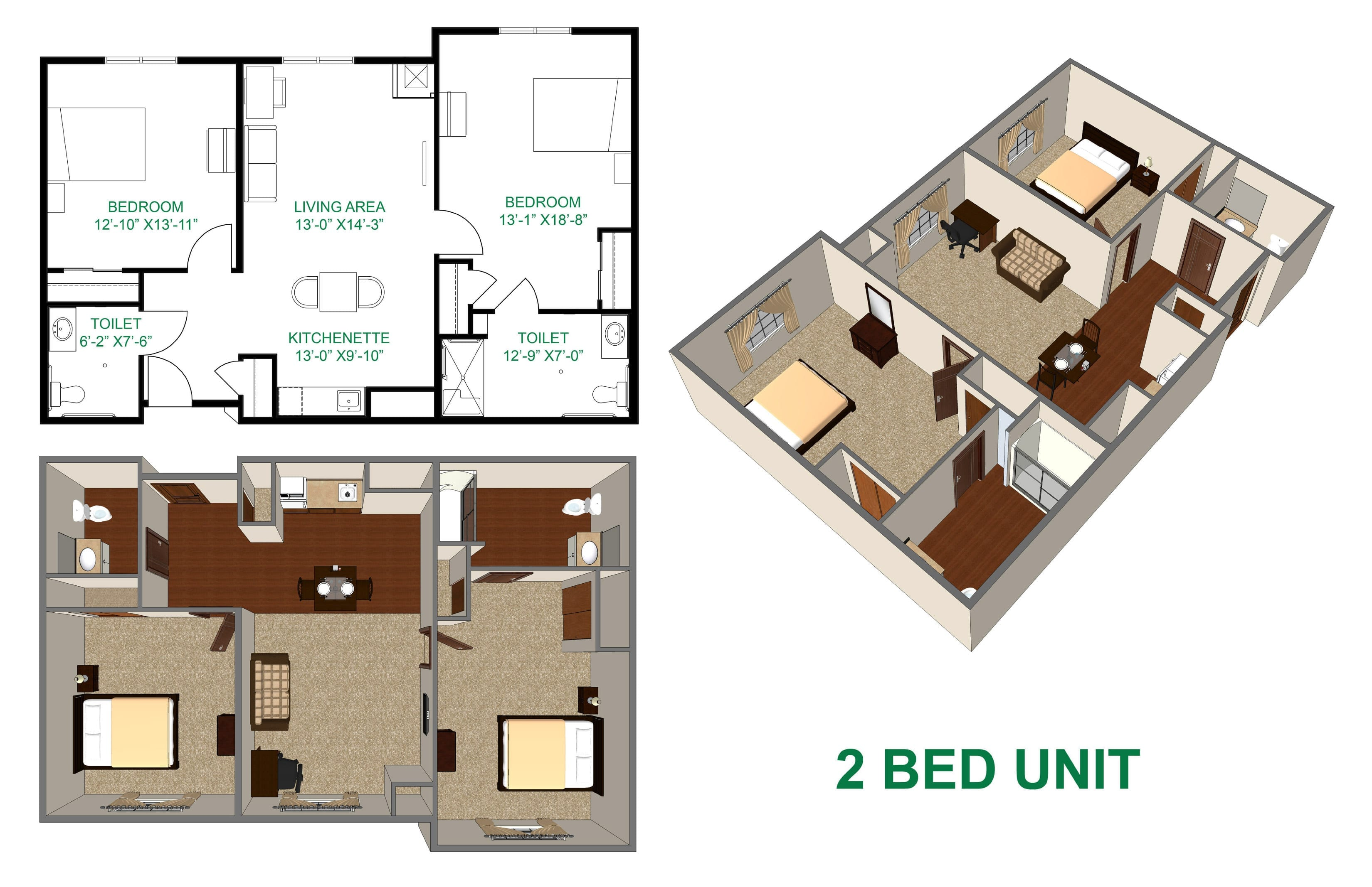 The Village at Skyline Pines assisted living 2 bedroom layout