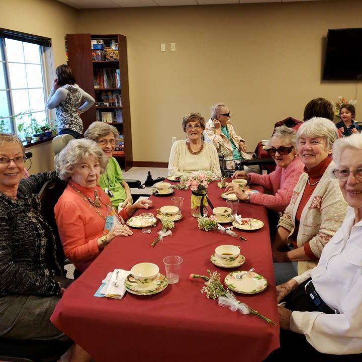 Elder ladies having tea