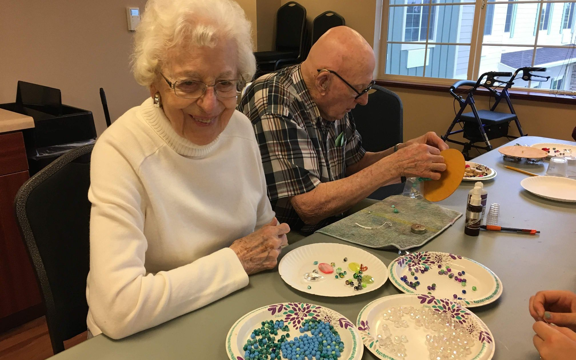 Residents doing craft projects
