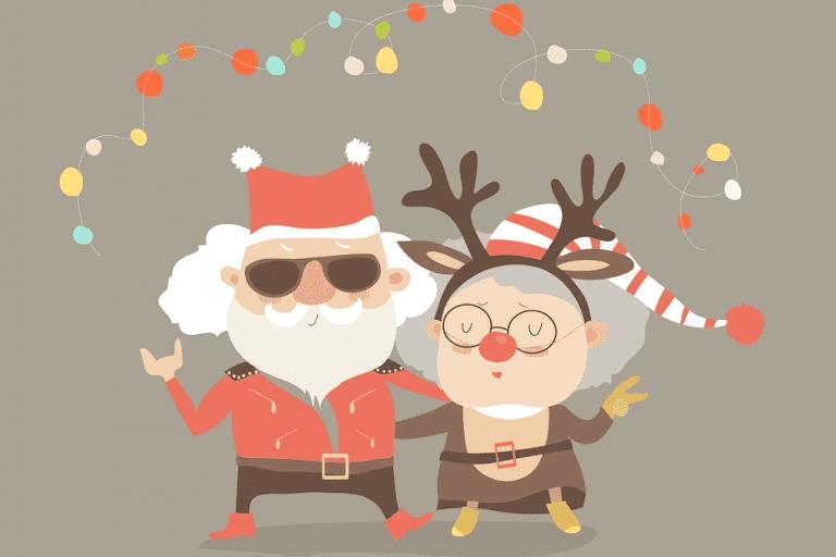Cartoon of Grandma and Grandpa dressed up for Christmas